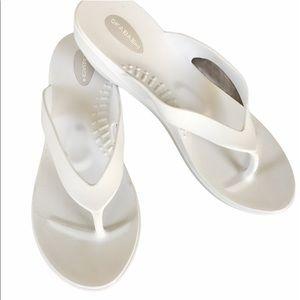 Okabashi white sandals with wedge h…